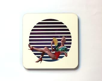 Lines Collage Art Print Coaster