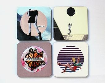 Set of Four Collage Art Print Coasters