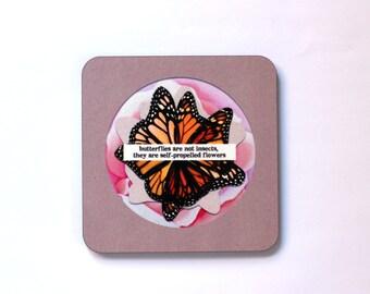 Butterflies Collage Art Print Coaster