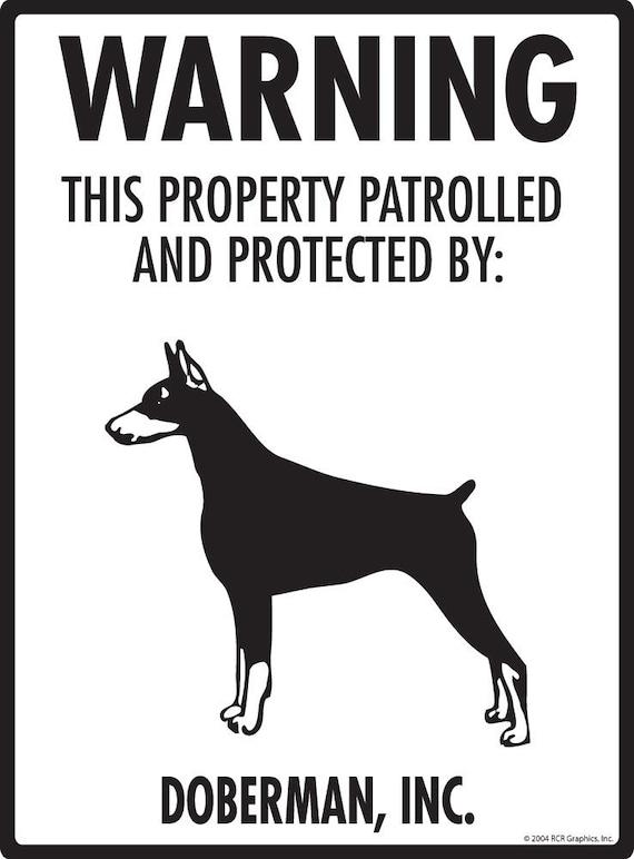 "Property Protected Aluminum Dog Sign Doberman Warning 9/"" x 12/"""