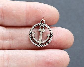 10 Anchor Antique Silver Tone Decorated Bracelet Charm -AL30