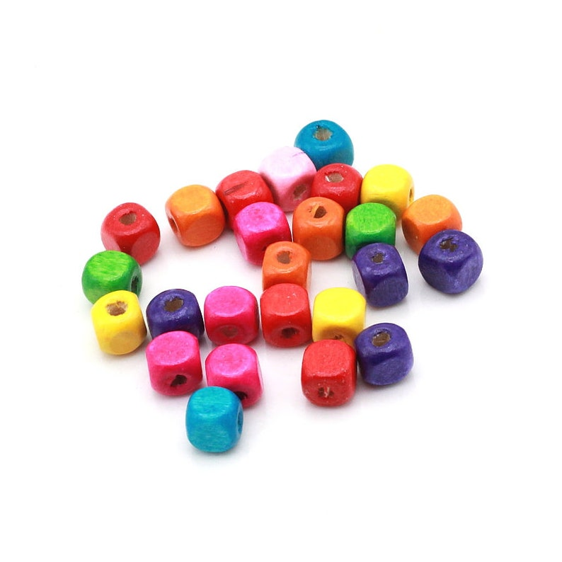 New Mixed Wooden Beads Spacers Jewelry Making DIY 1000pcs 8x6mm Rainbow Colors