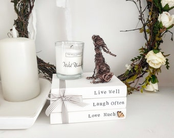 Live Laugh Love wooden block book stack