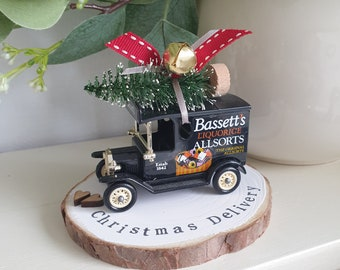Vintage delivery Truck Licorice Allsorts theme ..Personalised Snowy Log Slice.. made to order