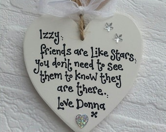 Personalised Friend Gift Present Are Like Stars Handmade Heart