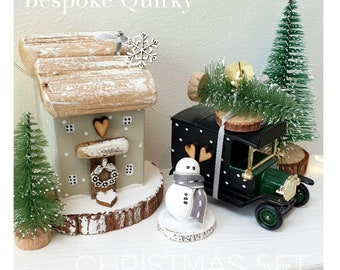 Home for Christmas.. Dotty Cottage.. Set .. Sage Cottage .. vintage Tree Car .. 2 trees .. snowman pre order