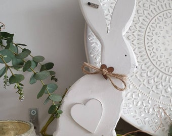 Large White Hare • Handpainted with rustic twine collar & heart detail