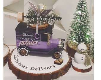 Cadbury chocolate Eclairs delivery truck ..Personalised Snowy Log Slice