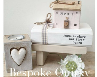 Peony pink 'Home' Cottage .. wooden Display Bench in Sand ..Faux Handstamped White Book  , Home is where our story began JAN 2021 DISPATCH