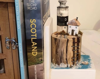 Little Wooden House Lighthouse.. Wooden Sculpture Book end ..  Mother's Father's Day Gift, Dad Mum Birthday Gift