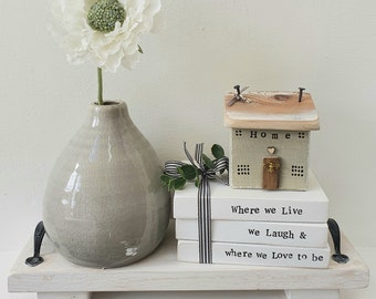 Home cottage in sage green &  'Live Laugh Love' wooden block faux book set