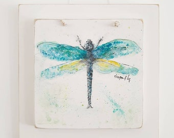 Dragonfly acrylic painting . Home decor . Gift for mum friend sister
