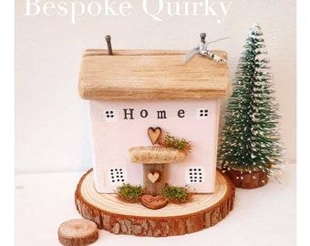 Home Cottage on a log slice .. JAN 2021 DISPATCH