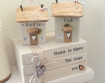 Personalised Wooden Cottage..  Faux Book Stack .. Dog Cat names