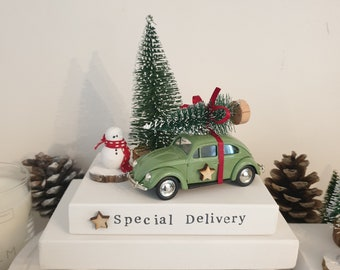 Limited edition Vintage green Beetle car   , tree , snowman & special delivery plinth .. ready to dispatch