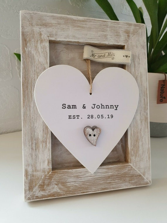 PERSONALISED OUR WEDDING WOODEN PHOTO FRAME SONS DAUGHTER WEDDING