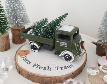 Vintage Green Christmas tree delivery truck with Snowy Farm fresh trees log slice plinth  plinth .. ready to dispatch