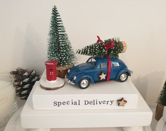 Limited edition Vintage dark blue Beetle car   , tree , pillar box & special delivery plinth .. ready to dispatch