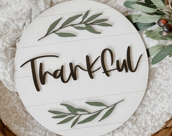 Round 3D Shiplap Thankful Sign | Thankful Wood Sign | Fall Sign | Shiplap Fall Sign | Home Decor Sign