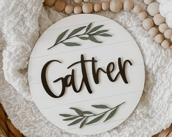 Round 3D Shiplap Gather Sign | Gather Wood Sign | Fall Sign | Shiplap Fall Sign | Home Decor Sign