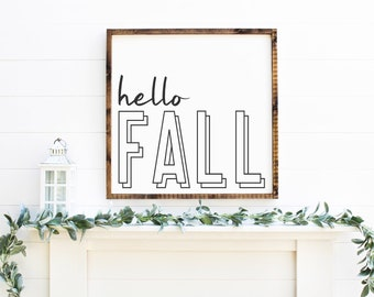 Hello Fall Wood Sign | Farmhouse Sign | Wood Framed Sign | Fall Decor | Fall Sign