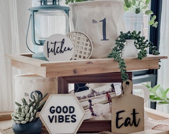 Good Vibes Tiered Tray Decor | Boho Tiered Tray Decor | Tiered Tray | Wedding Gift | Kitchen | Our Home | Home Sweet Home | Farmhouse Decor