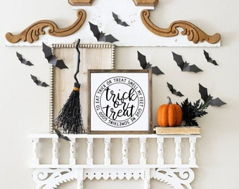Trick or Treat, Smell my feet Halloween Wood Sign | Halloween Wood Sign | Halloween Decor | Farmhouse Sign | Fall Decor | Fall Sign