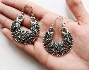 Bohemian Silver Earrings, Ethnic Silver Earrings, Boho Earrings, Festival Earrings, Ethnic Hoop Earrings, Afghani Earrings