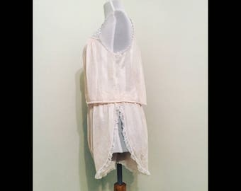 Adelaide silk two-piece sleep set (1980's Chevette nightgown upcycle)