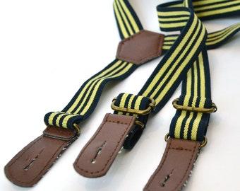 Vintage Mens Suspenders / Mens Braces / Groomsmen Suspenders / Boys Suspenders / Gift for Him / Striped Suspenders / Striped Braces
