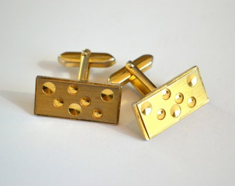 Vintage Gold Cufflinks / Mens Cufflinks / Gift for Groom / Groomsmen Gift / Vintage Cufflinks / Gift for Husband / Gift for Him
