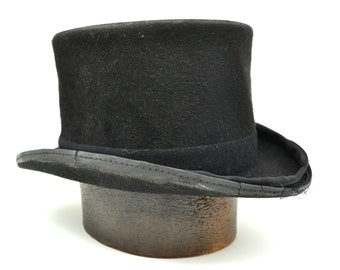 81af696ca36 Vintage Top Hat   Antique Top Hat   Halloween Costume   Steampunk Top Hat    Carollers Hat   Mad Hatter Hat   Mens Top Hat   Victorian Hat