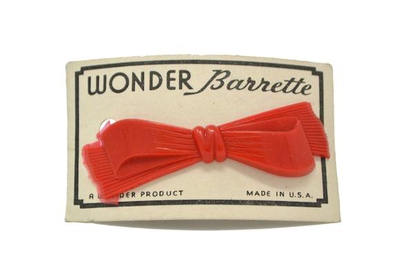 "Maroon//Brown Wonder /""Bow/"" Barrette Vintage Hair Barrettes Made in U.S.A"