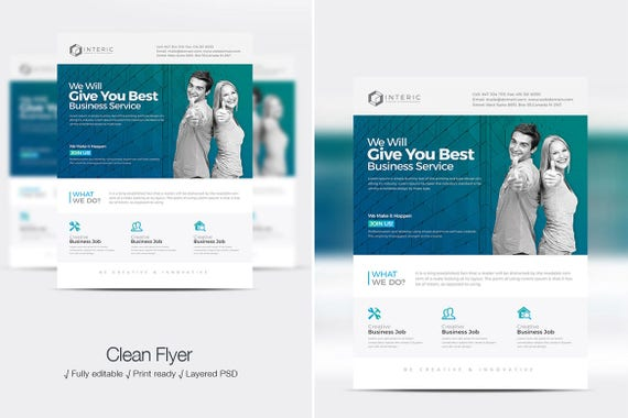 corporate business psd flyer design etsy