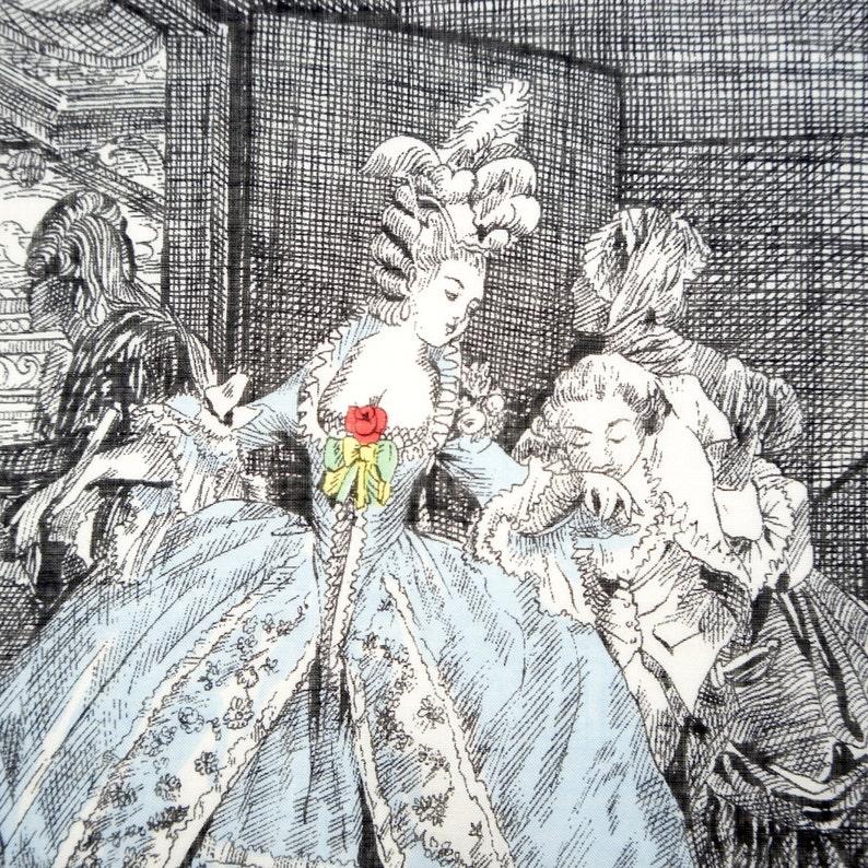 Vintage Batist Handkerchief Les Adieux Hand Rolled