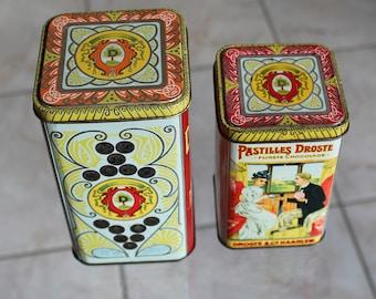 Two vintage tins by Dutch company Droste