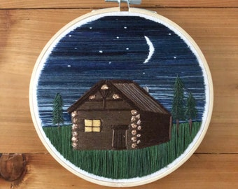 Cabin embroidery cabin art embroidery art thread painting hoop art fiber art embroidered cabin gifts for mom gifts for her
