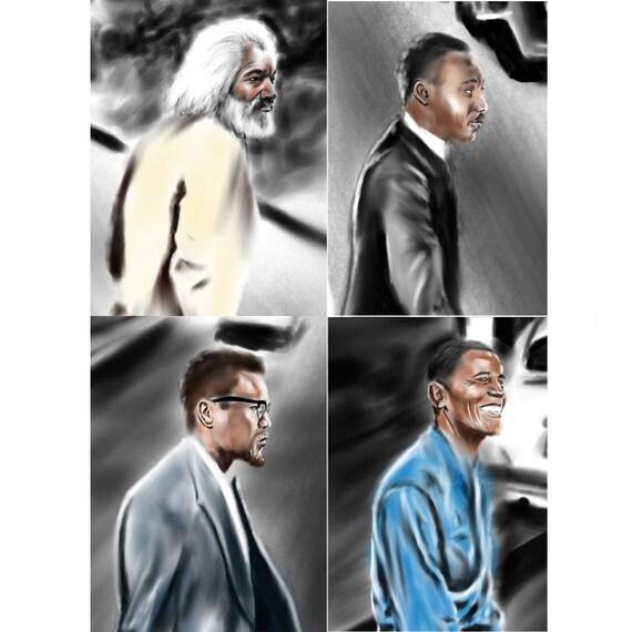 Gallery Art Print Frederick Douglass MLK Malcolm X Barack Obama Freedom Road