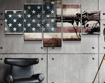 b37eb8c57455 Rustic American Flag with Soldiers  1 - Army Rangers- Military Art-  Patriotic Wall Art- Navy Seals- Army Wall Decor- US Marines- Canvas