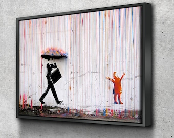 DARK BANKSY COLLAGE CANVAS WALL ART PRINTS GRAFFITI MONTAGE DECORATION PICTURES