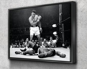 Muhammad Ali Knockout Various Sizes Canvas Wall Art Framed Print