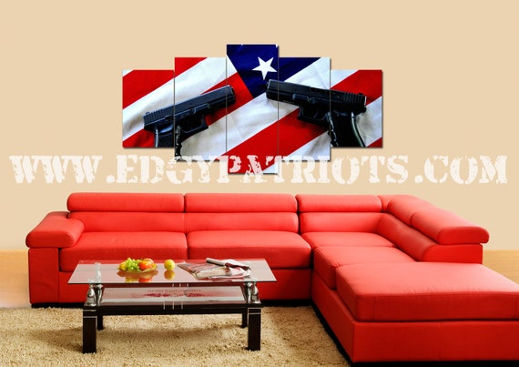 3154ff1359a7 American Flag and 2nd Amendment 4 Wall Art Canvas Army