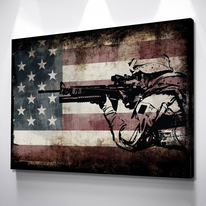 84e94db28da3 Rustic American Flag with Soldiers 1 Army Rangers Military