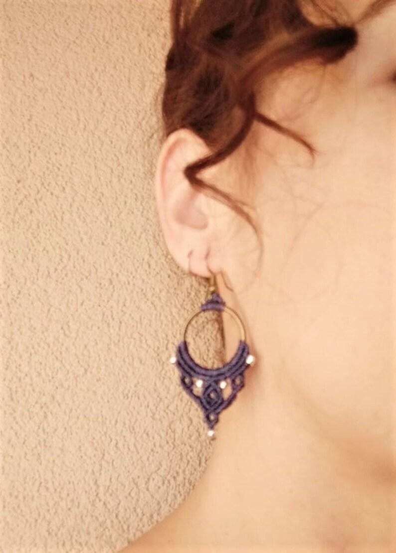 Hoop Macrame Earrings Woven Earrings, Gift for Girlfriend Long Earrings Dangle Earrings Bohemian Wedding Hippie Gypsy Ethnic Style