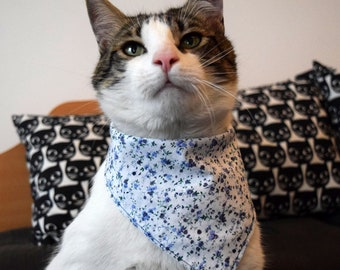 Summer Pet Bandana Fish Cat Bandana Waves Print Bandana Small Dog Bandana Reversible Cat Neckerchief Sea Cat Bib