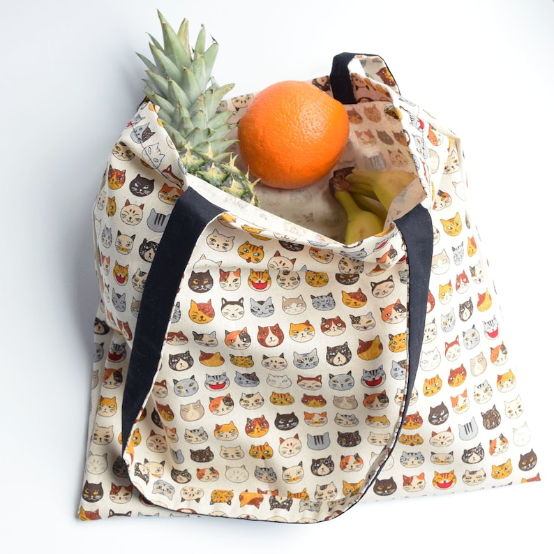 ad7169e1612 Cat Shopping Market Grocery Tote Bag, Vegan Cat Lady Bag, Gift For Cat Lover