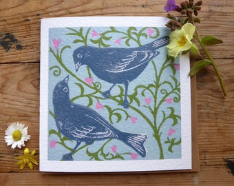 Love Birds greetings card from an original lino print