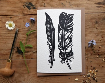 Two Feathers - greetings card for a nature lover - lino cut - friendship card - thank you card - feather study - printmaking