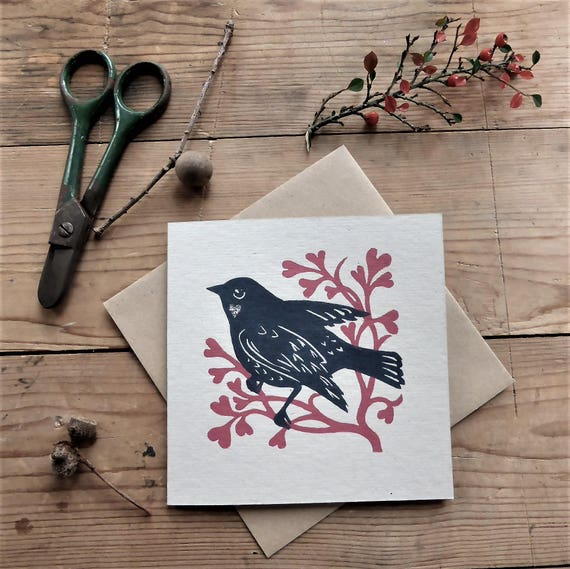 Love Bird greetings card from original linocut with red leaves and hearts