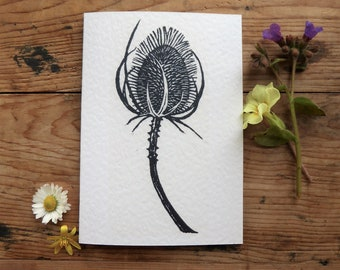 Black and White Teasel linocut greetings card* plant lover card* notecard* thank you* gifts for her* botanical card* card for nature lover